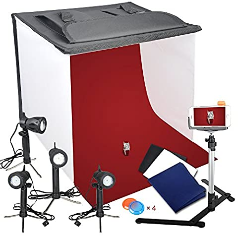 Emart Photography 24 x 24 Inches Table Top Photo Studio Continous Lighting LED Light Shooting Tent Box Kit, Camera Tripod & Cell Phone (Photo Product Studio)