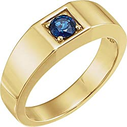 14k Yellow Gold Sapphire Polished Men's Sapphire Ring