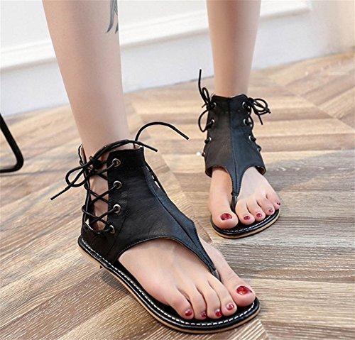 lacets xie Toe 35 42 À Sandales Mesdames Taille Sandales Femmes Chaussures Roman plates Sandales black xqwYRgfq