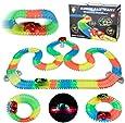Pista Coches de Juguetes Circuito Luminosa 240 Piezas de Pistas Flexible con 2 Coches LED Juguete Juegos Educativos Regalos para Niños Niñas 3 4 5 6 Años