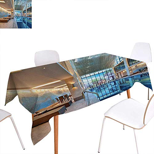 Warm Family Spa Printed Tablecloth Indoor Swimming Pool with Relaxing Long Seats Calming Image Print Rectangle Tablecloth 50