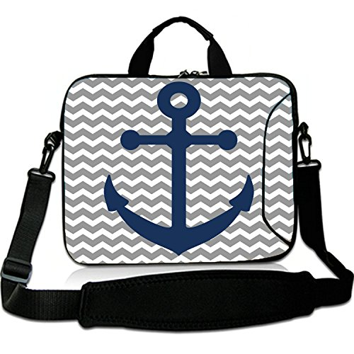 15 Inches Laptop Shoulder Bag Briefcase Anchors Grey Stripes chevron Waterproof Neoprene Laptop Carrying Bag Sleeve for Macbook 15