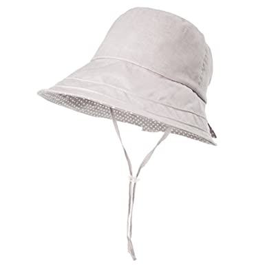 bc63dccbb82a1 Siggi Ladies SPF50+ 100%Linen Summer Sun Bucket Packable Foldable Wide Brim  Hats w  Chin Cord Grey  Amazon.co.uk  Clothing
