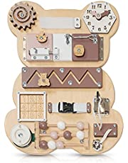 Toddler Busy Board Bear for 1 2 3 Year Old - Wooden Handmade Baby Sensory Activity Boards with Keys, Lock, Latches, Time Telling Clock, Buckle - Travel Car Plane Montessori Toys