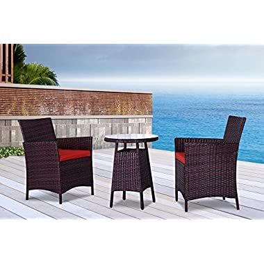 The San Tropez Collection - 3 Pc Outdoor Rattan Wicker Sofa Patio Furniture Set. Choice of Set & Cushion Color (Mixed Brown / Rust Cushions)