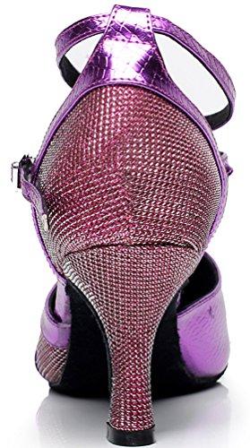 Round toe Latine Fête Danse shoes Violet Chacha 6227 Mid De nbsp;femme Jj Dance Tango Piste Rumba Tissu Cfp Talon t6wqOFxT