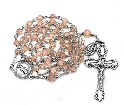 Elysian Gift Shop Rose Pink Italian Rosary 6mm Austrian Crystal beads and Silver centerpiece and crucifix