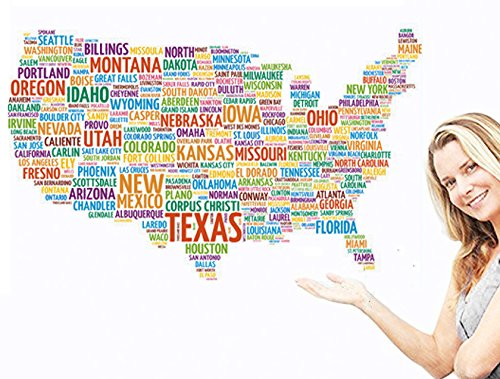 USA Map Kids Educational Wall Sticker 50 State Name made up of USA MAP Wall Sticker Decal in United States Letters World Map Text Stickers for Home or Office Decor Usa Wallpaper Blanket