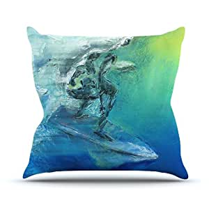 "Kess Josh Serafin ""de septiembre de alta internos"" azul verde al aire libre manta almohada, 16por 40,64cm"