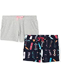 Amazon Brand - Spotted Zebra Girls' 2-Pack French Terry Knit Shorts
