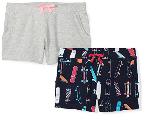 Amazon Brand - Spotted Zebra Girls' Big Kid 2-Pack French Terry Knit Shorts, Skate, Large - Clothing Girl Skate