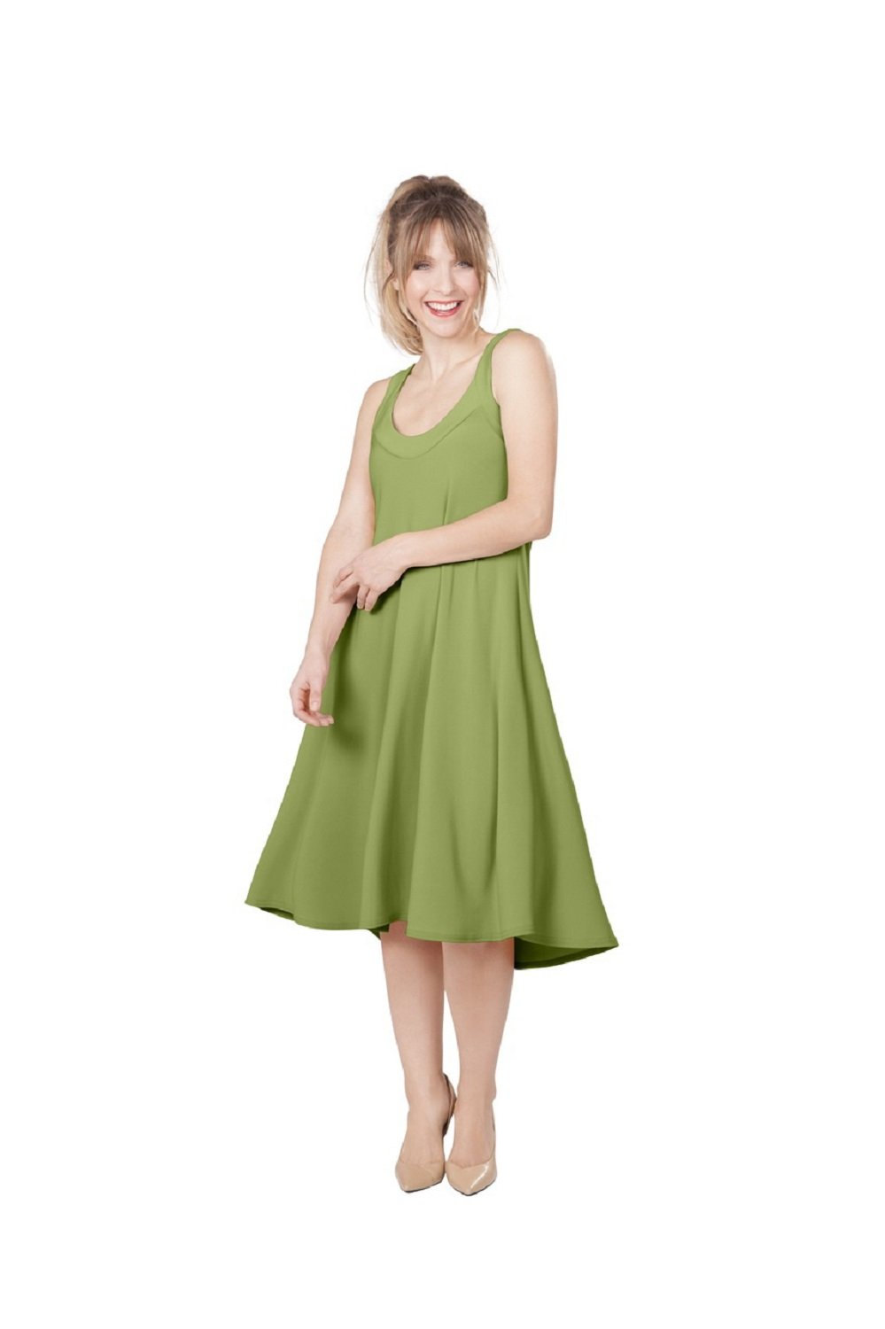 Sympli Women's Social Sun Dress~Short~Kiwi (14, Kiwi)