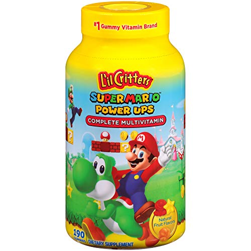 L'il Critters Super Mario Brothers Complete Multivitamin Gummies, 190 Count (Packaging May Vary) ()