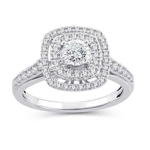 (0.50 Ct.Wt. Round Diamond Double Halo Cushion/Square Shape Bridal Set 10K White Gold (IJ/I2-I3) (7))