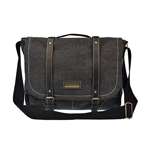 Casual Messenger (Douguyan Vintage Canvas Messenger Bag for Men and Women Crossbody Computer Bag Black 261)