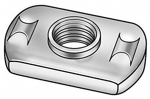 1/4''-20 Tab Base Weld Nut with Projections, Steel, PK50