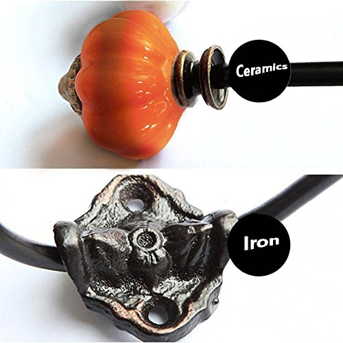 Coat Hooks-Vintage Ceramic Iron Pumpkin Hooks Wall hooks for Coat Jewelry Hat Scarf Home Decoration-2 Pack (Orange) by ElecNova (Image #1)