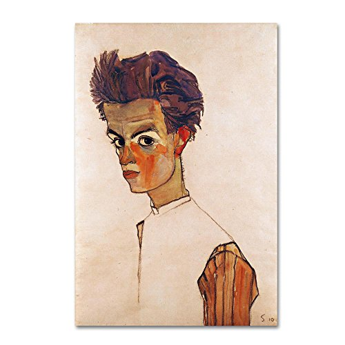 Self Portrait With Striped Shirt by Egon Schiele, 30x47-Inch Canvas Wall Art (Egon Schiele Self Portrait With Striped Shirt)