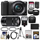Sony Alpha A5100 Wi-Fi Digital Camera & 16-50mm Lens (Black) with 55-210mm Lens + 64GB Card + Case + Flash + Battery & Charger + Tripod Kit