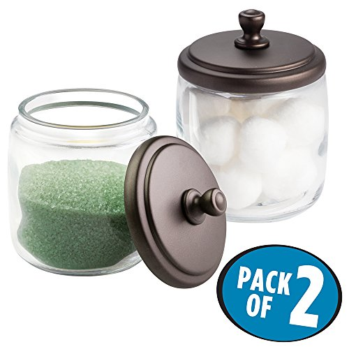 mDesign Bathroom Vanity Glass Canister Jar for Cotton Balls, Swabs, Cosmetic Pads - Pack of 2, Clear/Bronze
