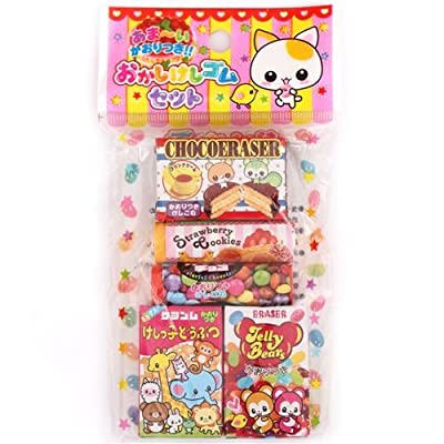 Kutsuwa 5 Cute Animal Snack Scented erasers from Japan Kawaii: Office Products