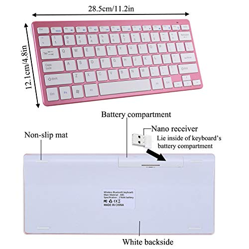 Pink Noiseless Click 2.4G Wireless Keyboard with Bluetooth 2.4G Dual Mode Mouse Quiet Typing 2-in-1 Portable Keyboard Mouse Combo