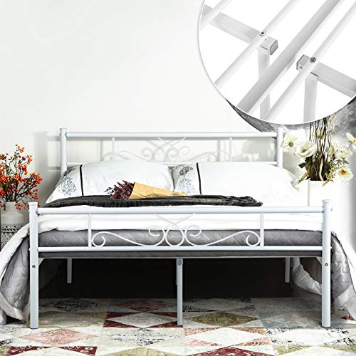 cc30aac3674 SimLife Metal Frame with Headboard and Footboard Mattress Foundation  Platform Bed for Kids No Box Spring