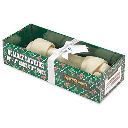 Ranch Rewards Holiday Rawhide Gift Pack Bone Natural Rawhide Cane