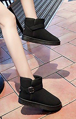 Boots Bout Noir Rond Aisun Boucle Bottines Original Femme fxqwP6