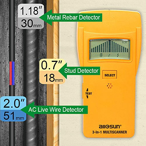 all-sun Wood Stud Finder Electronic Sensor Wood Stud / Metal Detector / AC Electrical Scanner 3 in 1 Multi-Scanner
