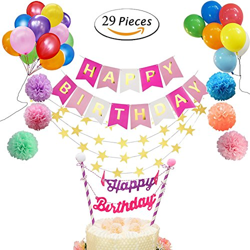 Happy Birthday Decorations,29 PCS Party Decorations with Happy Birthday Banner By Blessed Family (29 PCS)