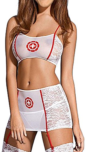 IF FEEL Women's Sexy Nurse Uniforme Cosplay Costume Set For Halloween (One size, - Lara Costume Shop
