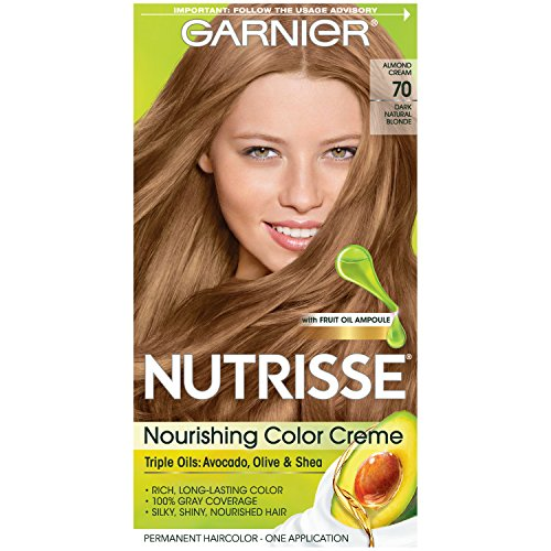 Garnier Nutrisse Nourishing Hair Color Creme, 70 Dark Natural Blonde (Almond Creme)  (Packaging May Vary) (Best Hair Color For Natural Dirty Blondes)