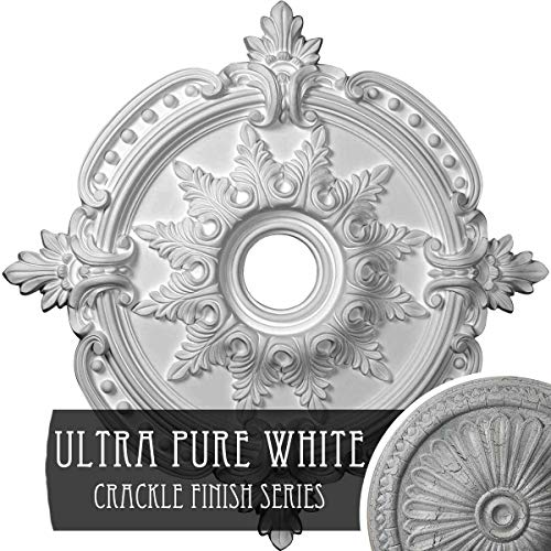 """Ekena Millwork CM28BEUWC 28-3/8"""" x 3-3/4"""" x 1-5/8"""" Benson Classic Ceiling Medallion (Fits Canopies up to 6 1/2""""), Hand Painted, 28 3/8""""OD x 3 3/4""""ID x 1 5/8""""P, Ultra Pure White Crackle"""