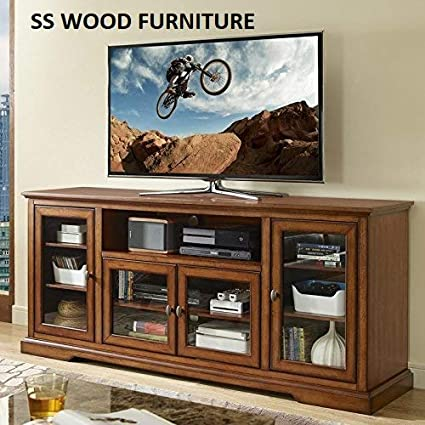 SS WOOD Furniture Solid Wood Natural Finishing TV Entertainment Unit (Rustic Brown)