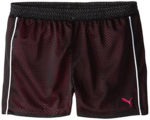 PUMA Big Girls' Active Double Mesh Short, Black, 7 ()