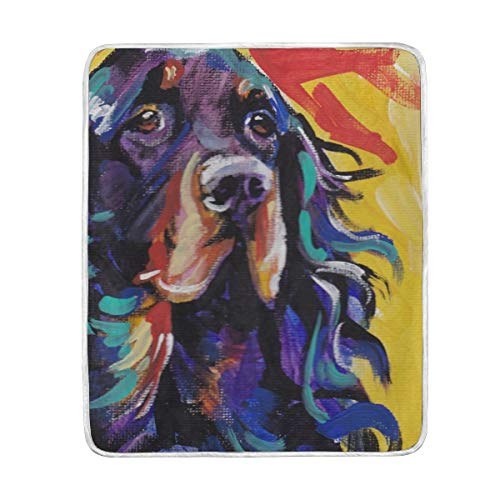 FannyMT Gordon Setter Dog Blanket Throw Lightweight Cozy Plush Microfiber Solid Blankets for Kids Adults, 60 x 50 Inch