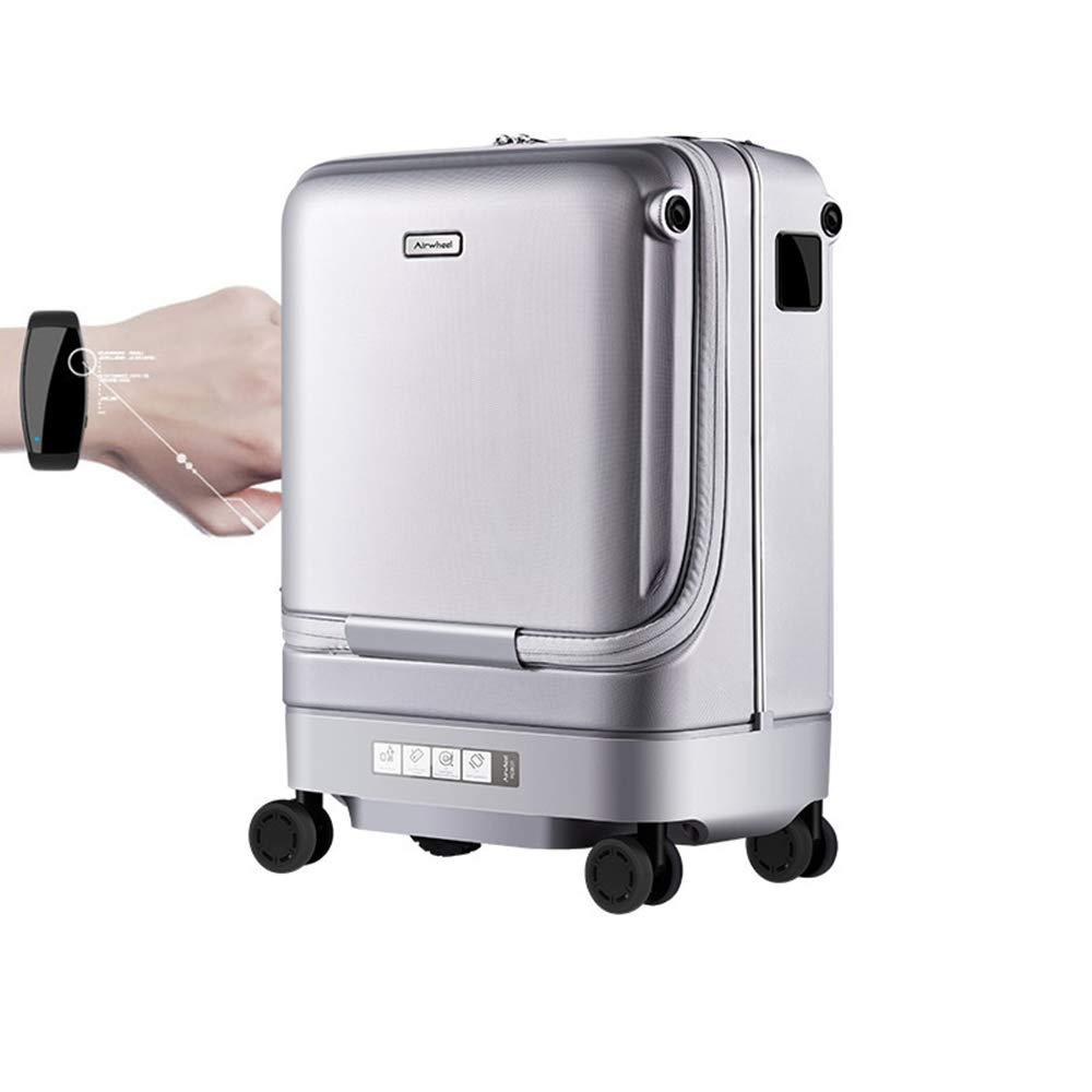 指紋ロック解除旅行搭乗スーツケース、電気スマートフォロー荷物USB外部充電、トラベルバッグトロリースーツケース/スピナーホイール   B07QRQ4D2W