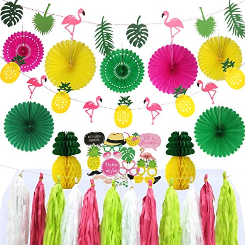 46pcs Summer Tropical Party Decoration Kit Bridal Shower Birthday Hawaiian Luau Beach Supplies - Photo Props, Flamingo and Pineapple Banner, Paper Fans, Tassel Garland, Pineapple -