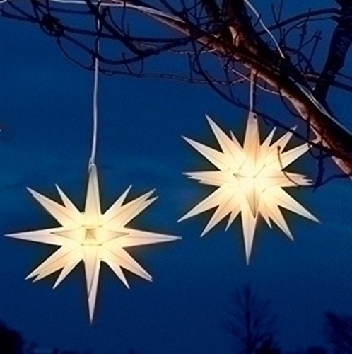 Roman Pack of 2 White Moravian Star Hanging Christmas Lights 14