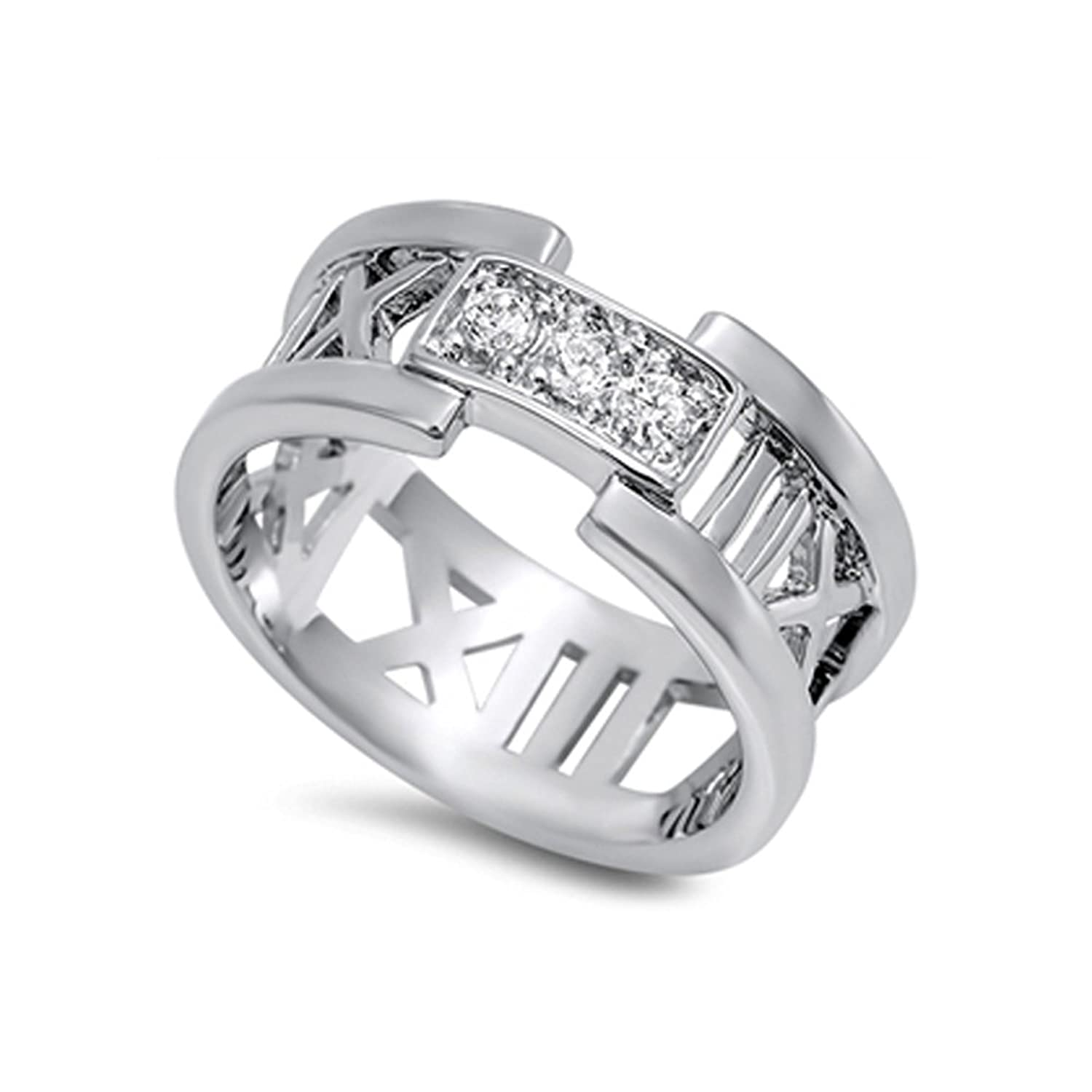 .925 Sterling Silver Roman Numerals Statement Ring with Cz