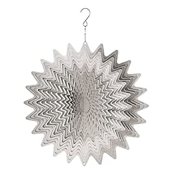 LARGE METAL WIND SPINNER SUN CATCHER HANGING GARDEN ORNAMENT WHIRL SILVER  12 By SC Gifts