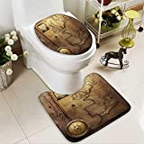 Analisahome 2 Piece Bathroom Contour Rugs old compass on vintage map france spain england portugal holland denmark Non Slip Comfortable Snd Soft