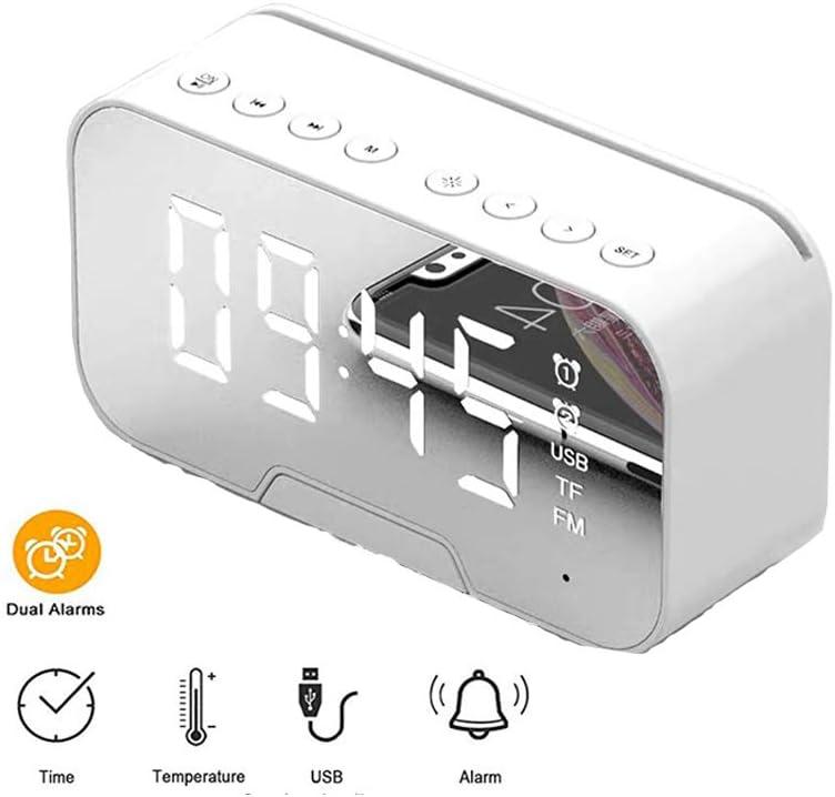 Wecker drahtloser Bluetooth 5.0-Lautsprecherspiegelwecker mit Telefonhalterfunktion Desktop-Digitaluhr Bluetooth-Lautsprecher FM-Radiowecker