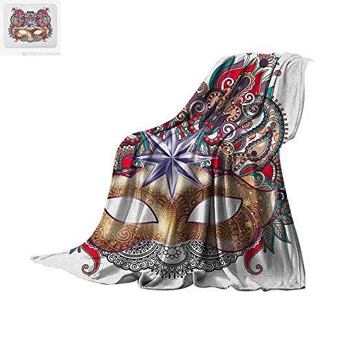 Custom Mardi Gras Masks - Mardi Gras Custom Design Cozy Flannel Blanket Venetian Carnival Mask Silhouette with Ornamental Elements Masquerade Costume Digital Printing Blanket 50