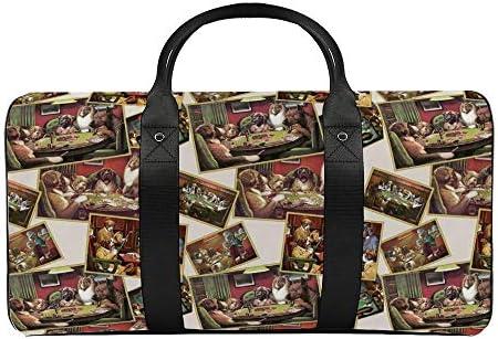 ポーカーをしている犬1 旅行バッグナイロンハンドバッグ大容量軽量多機能荷物ポーチフィットネスバッグユニセックス旅行ビジネス通勤旅行スーツケースポーチ収納バッグ