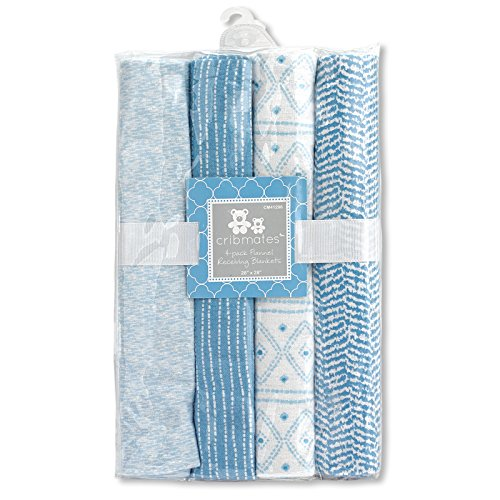 Regent Baby 4 Piece Receiving Blanket, (Blue Receiving Blanket)