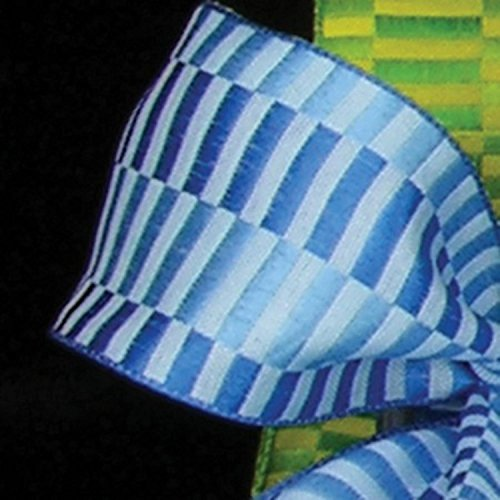 Blue Retro Blocks Print Woven Taffeta Wired Craft Ribbon 1.5