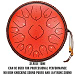 Amkoskr 14 Inches 35cm Steel Tongue Drum D Key 15 Notes Percussion Instrument Hand Pan Drum with Drum Mallets/Carry Bag…