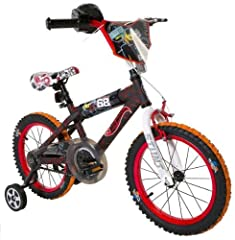 "Hot Wheels fans will love riding around on this 16"" BMX boys bike featuring a sturdy steel frame with a colorful design and authentic Hot Wheels graphics. This bike includes front hand and rear coaster brakes making it easy to stop. It also i..."